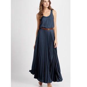 Michael Kors Navy Stripe Pleated Skirt Maxi Dress